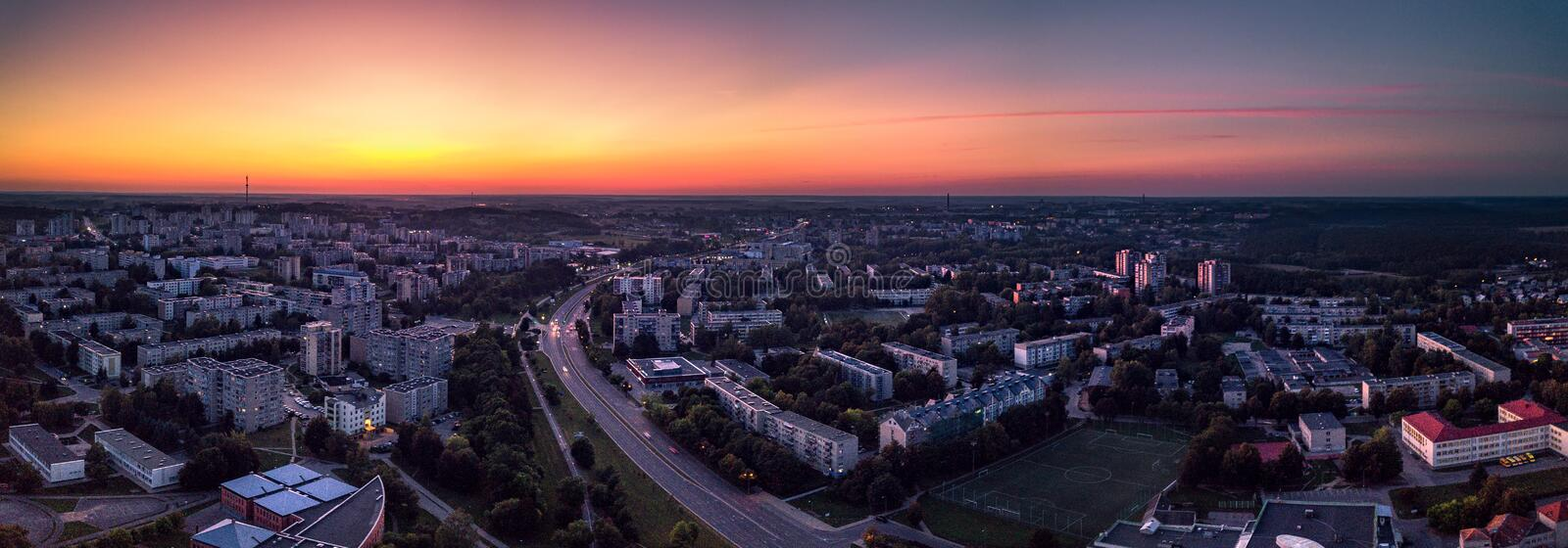 Alytus city at sunset. Alytus city panorama at sunset, Lithuania royalty free stock photography