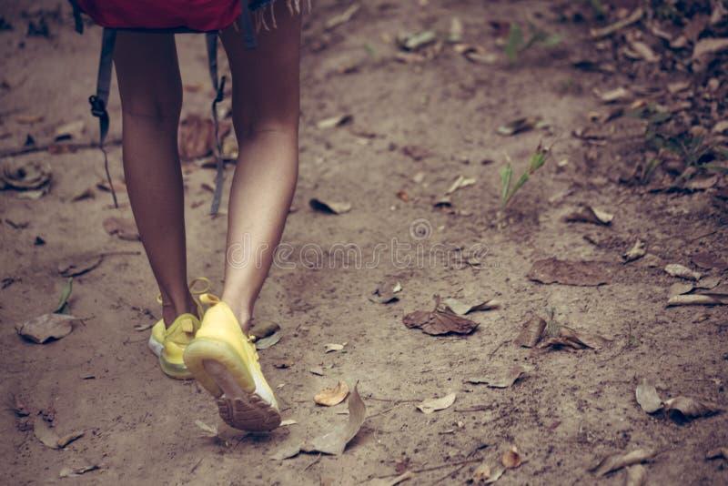 Alzas y cierre del backpacker encima de caminar de los zapatos de la mujer fotografía de archivo
