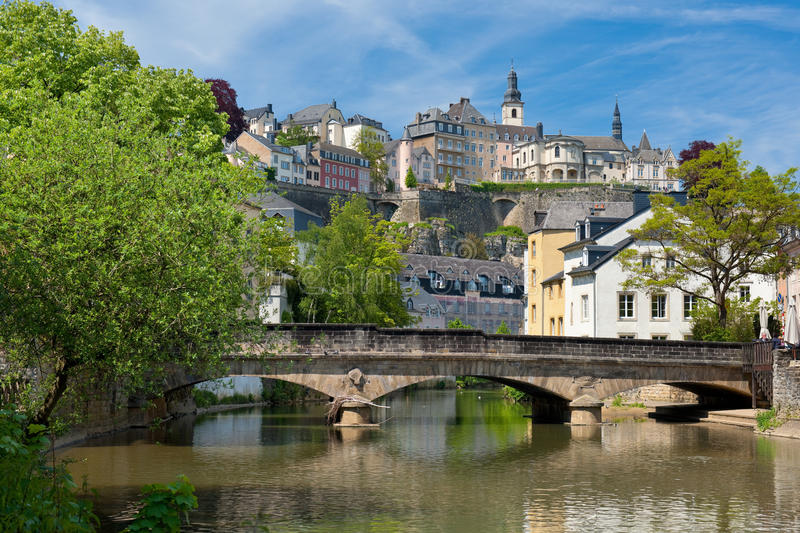 Download Alzette River In The Grund, Luxembourg Stock Image - Image of stones, cloud: 25294315