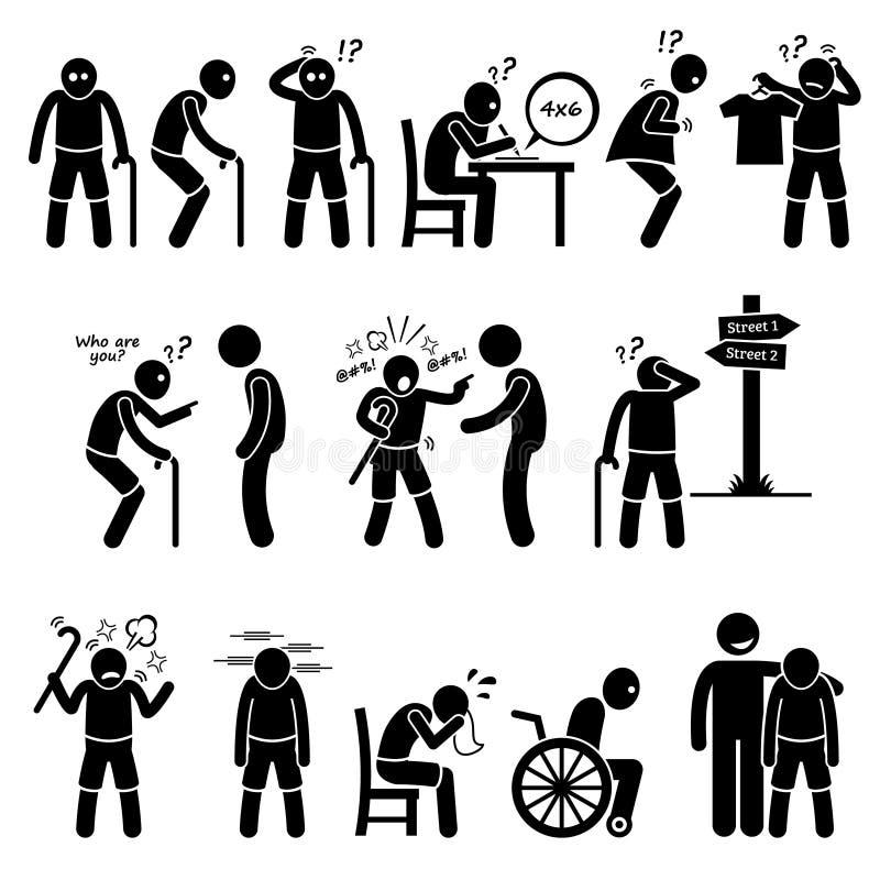 Alzheimer and Dementia Elderly Old Man Clipart vector illustration