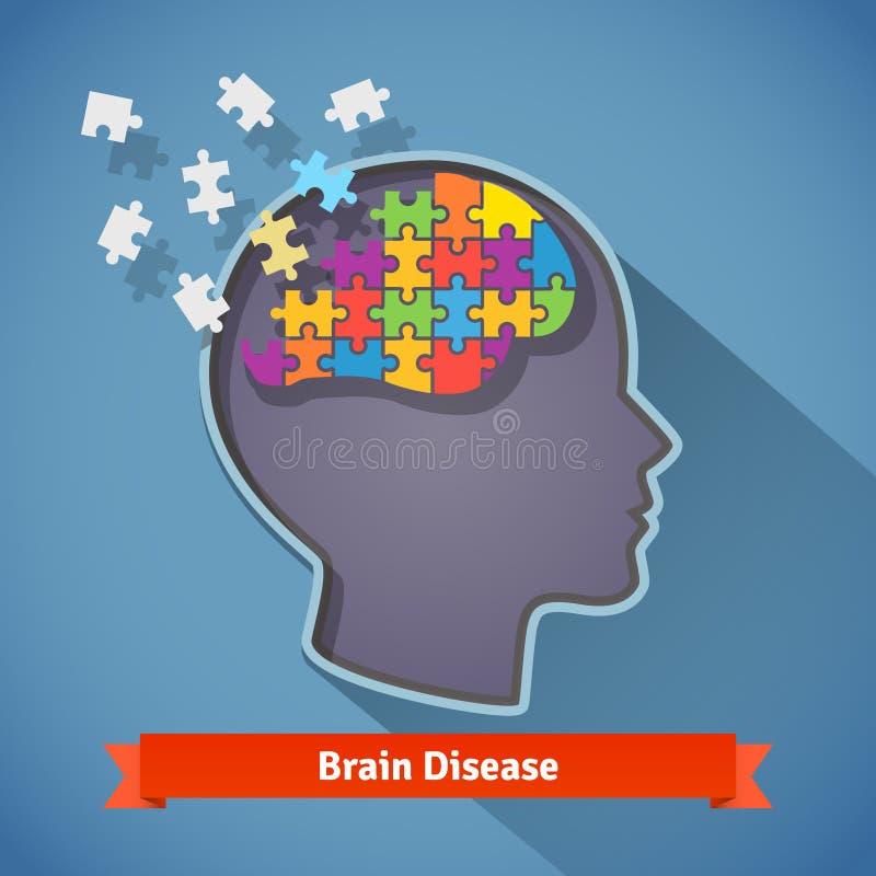 Alzheimer-Erkrankung des Gehirns, Geistesproblemkonzept lizenzfreie abbildung