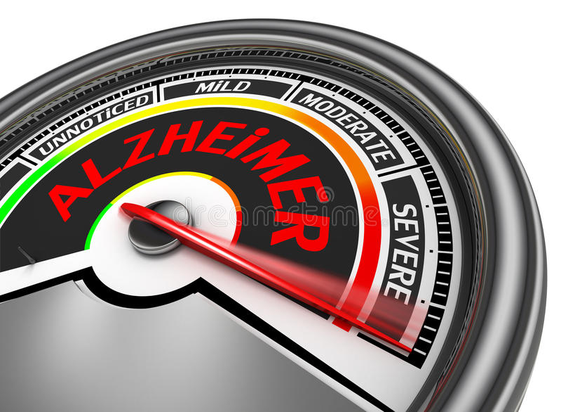Alzheimer Krankheits-Begriffsmeter zeigen schweres an lizenzfreie abbildung