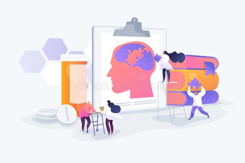 Alzheimer Krankheits-Konzept-Vektorillustration stock abbildung