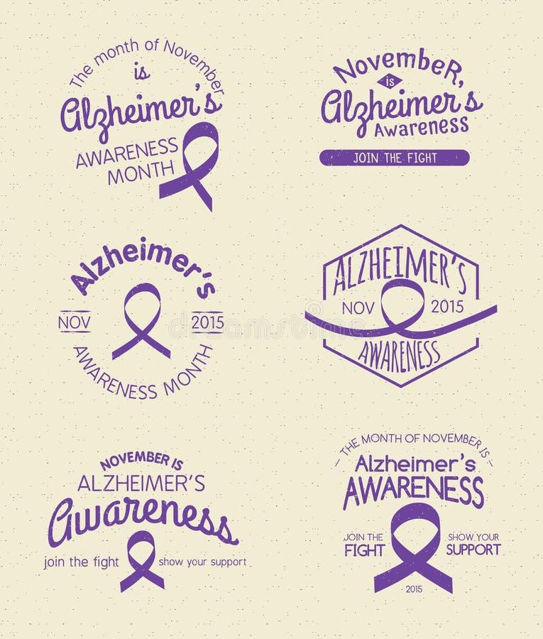 Alzheimer's Awareness Month. Hand Drawn Insignia set stock illustration