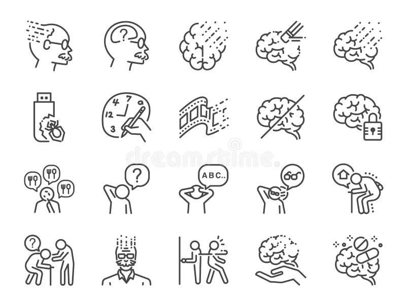 Alzheimer u. Brain Awarenesss Linie Ikonensatz Schloss die Ikonen als Alzheimer, Erkrankung des Gehirns, Gelehrtesyndrom, Geistes lizenzfreie abbildung