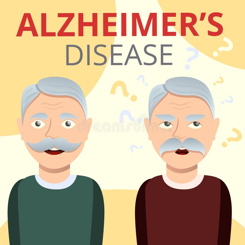 Alzheimers disease concept background, cartoon style royalty free illustration
