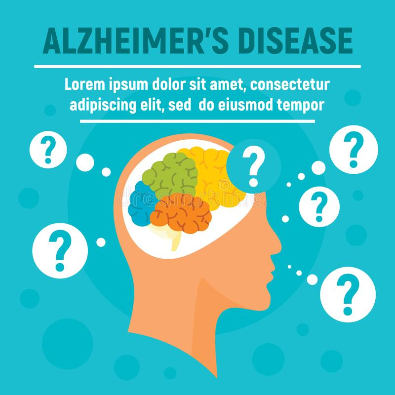 Alzheimers disease concept background, flat style vector illustration