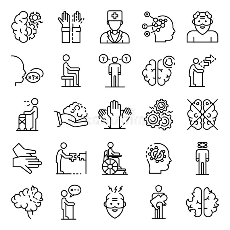 Alzheimers disease icons set, outline style vector illustration
