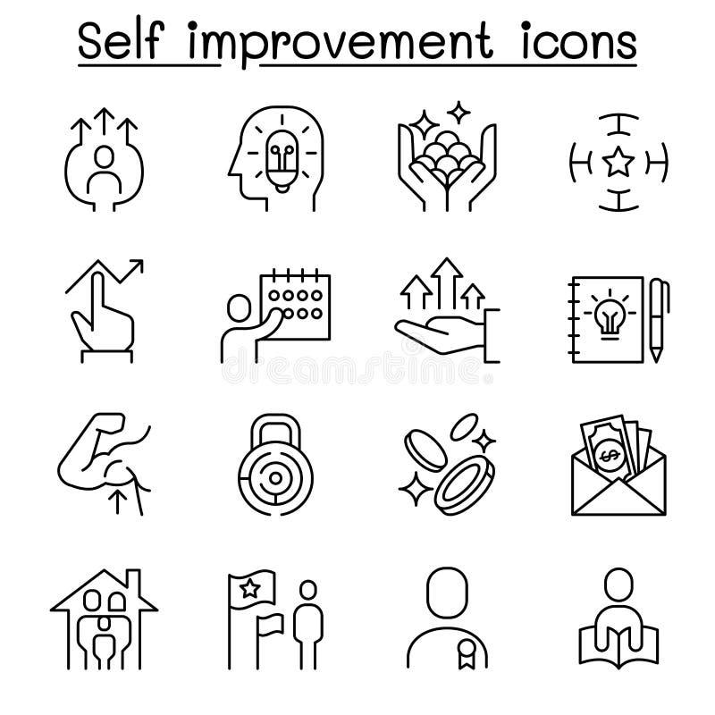 Amélioration d'individu, but, cible, développement, planification, ensemble d'icône de stratégie dans la ligne style mince illustration libre de droits