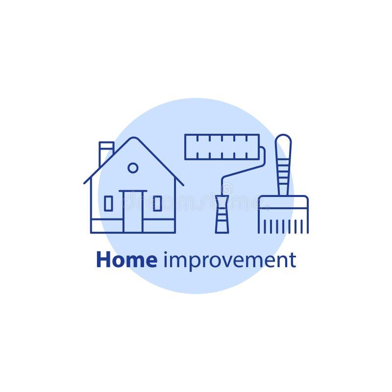 Amélioration de l'habitat, services de peinture pour bâtiments, concept de rénovation, pinceau et outils de rouleau de peinture,  illustration libre de droits