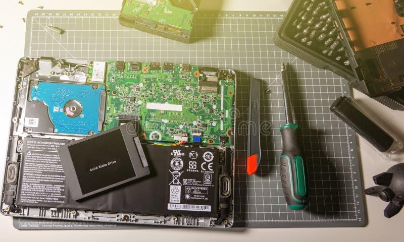 Améliorez l'ordinateur portable au disque transistorisé dans la commande à semi-conducteur d'atelier de réparations image stock