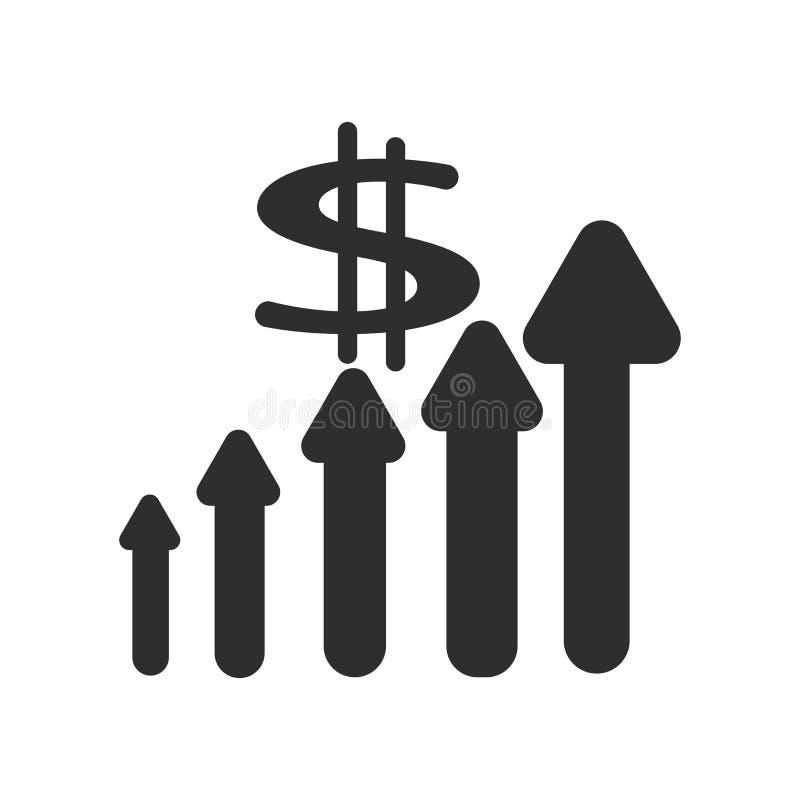 Améliorez le signe de vecteur d'icône de revenus et le symbole d'isolement sur le fond blanc, améliorent le concept de logo de re illustration stock