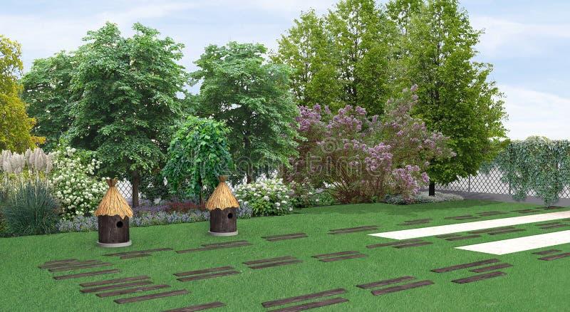 am nageant la plantation en parc de jardin de style campagnard de la verdure 3d rendent. Black Bedroom Furniture Sets. Home Design Ideas