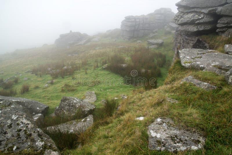 Aménagez en parc au-dessus du parc national de Dartmoor en automne avec des roches et f photo stock