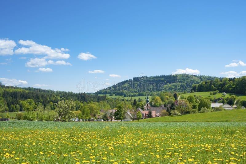 Aménagez en parc avec l'église Maria Hilf de pèlerinage dans Moosbronn photographie stock