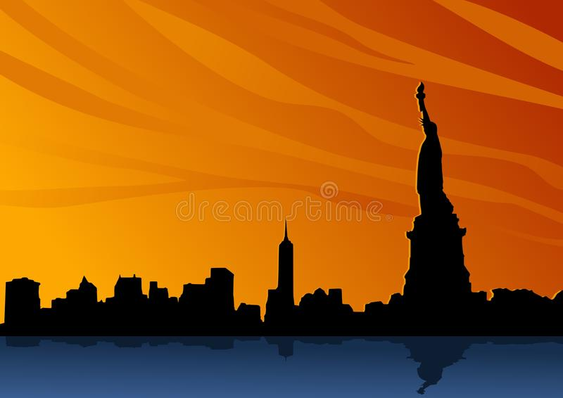 Aménagez en parc avec la silhouette typique d'horizon de New York avec la statue de la liberté illustration stock