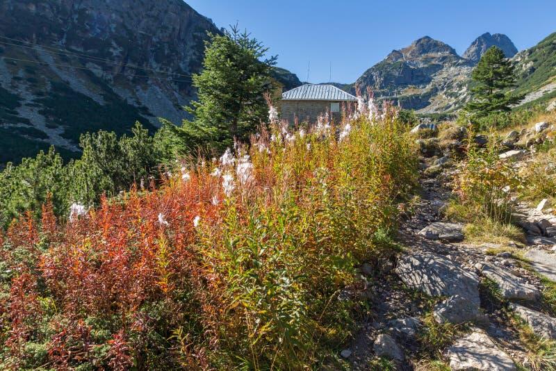 Aménagez en parc avec la traînée à monter la crête de Malyovitsa, montagne de Rila photographie stock libre de droits