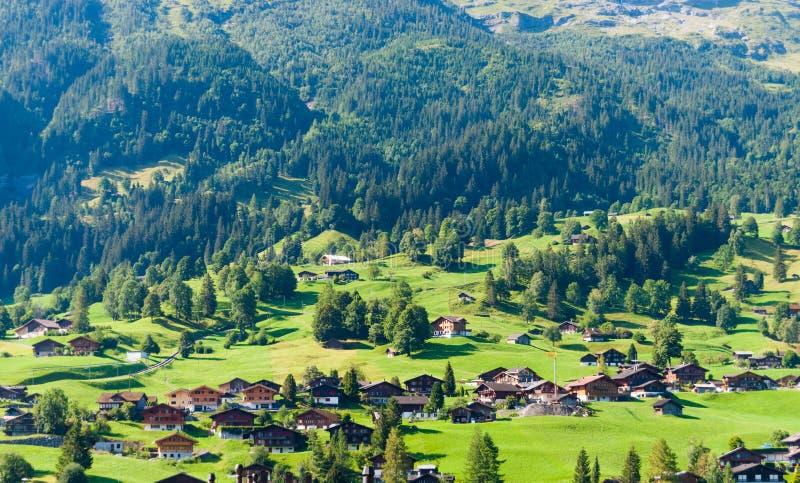 Aménagez en parc avec le village de montagne en été, Grindelwald, Suisse photographie stock