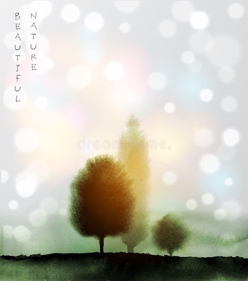 Aménagez en parc avec les arbres verts en brouillard tiré par la main avec l'encre dans le style asiatique sur le fond rougeoyant illustration stock