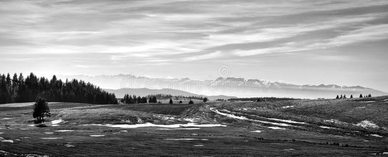 aménagez en parc en noir et blanc avec de beaux montagnes et nuages image stock
