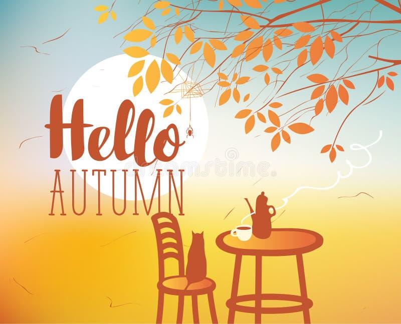 Aménagez en parc sur le thème d'automne avec le chat et les meubles illustration stock