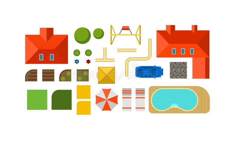 Aménagez la cour privée de maison de plan de constructeur, pelouse et mettez en parc le vecteur en commun plat de vue supérieure illustration de vecteur