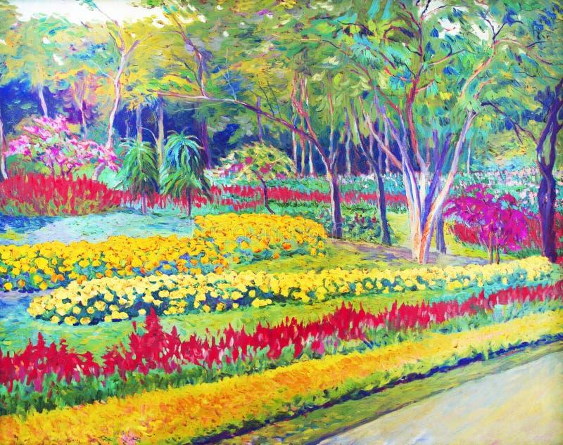 Aménagez la peinture à l'huile en parc originale sur la couleur de toile de la fleur de Salvia illustration libre de droits