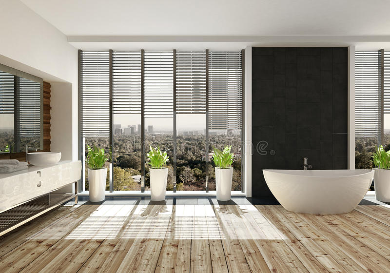 Aménagez la vue en parc d'une salle avec la grande fenêtre illustration stock