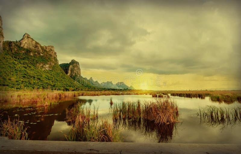 Aménagez le lac en parc de lotus au parc national de yod de ROI de Sam de khao photo stock