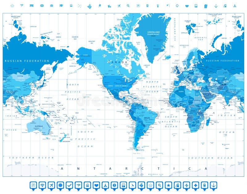 América centró color azul del mapa del mundo e iconos planos ilustración del vector