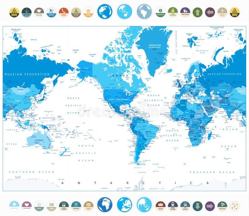América centró color azul del mapa del mundo e iconos planos redondos stock de ilustración