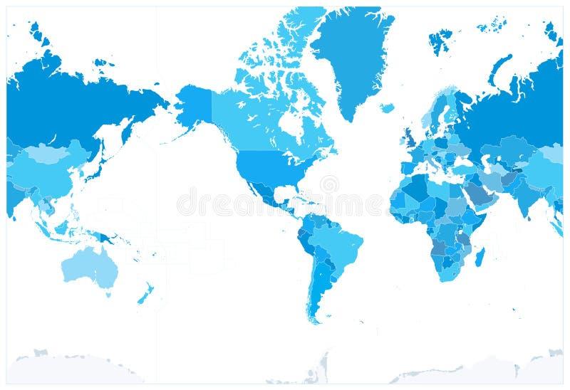 América centró colores políticos del azul del mapa del mundo NINGÚN texto libre illustration