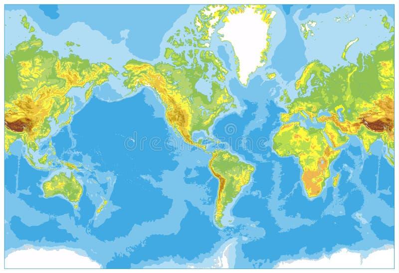 América centró el mapa del mundo físico Ningún texto y fronteras stock de ilustración