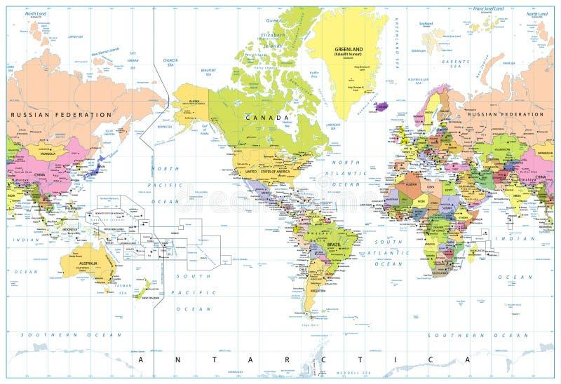 América centró el mapa del mundo político aislado en blanco libre illustration