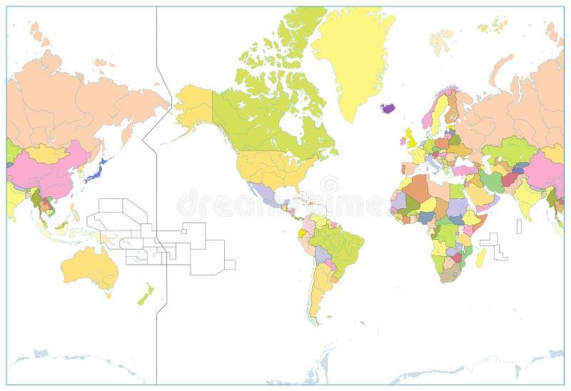 América centró el mapa del mundo político aislado en blanco NINGÚN texto ilustración del vector