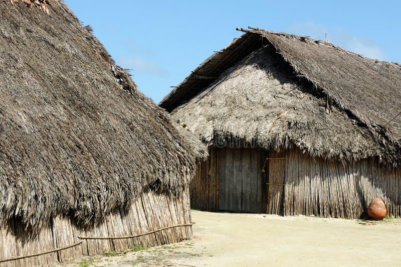 América Central, Panamá, casa tradicional dos residentes do arquipélago de San Blas imagens de stock royalty free