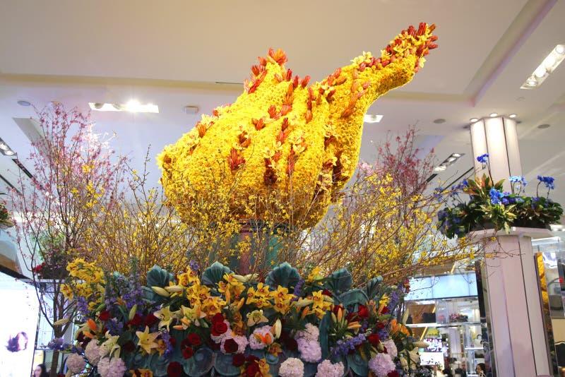América a decoração bonita da flor do tema durante a mostra de flor anual famosa de Macy fotos de stock royalty free