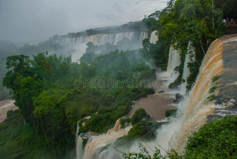 América Latina, Argentina, cachoeiras: Paisagem bonita com vistas da Foz de Iguaçu fotos de stock royalty free
