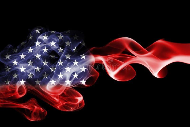 América, los E.E.U.U., bandera nacional del humo foto de archivo