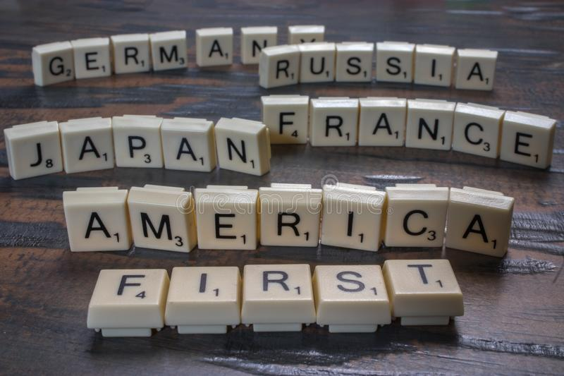 América primeiramente em telhas da letra fotografia de stock royalty free