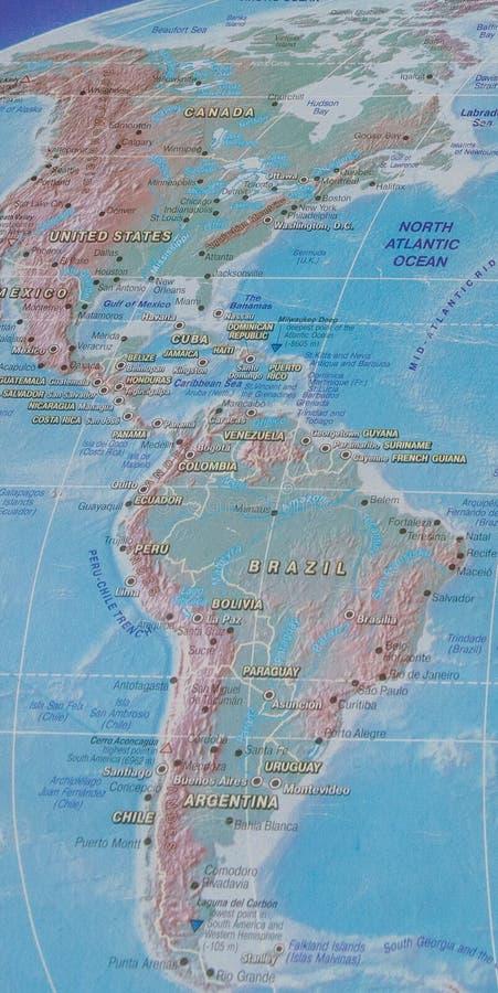 América septentrional y meridional en el mapa del mundo fotos de archivo