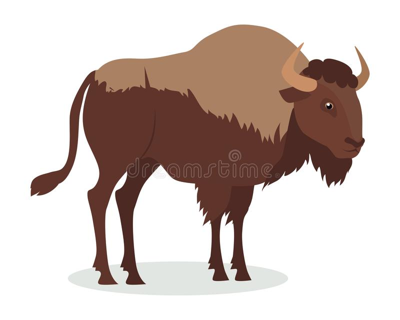 Américain Bison Cartoon Icon dans la conception plate illustration stock