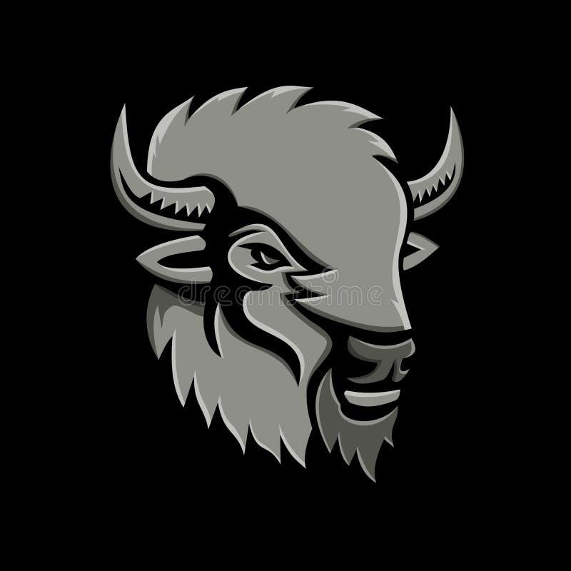 Américain Bison Head Metallic Icon illustration de vecteur