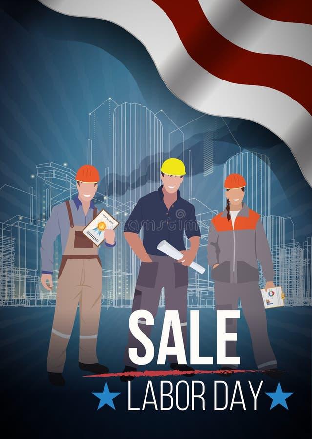 Américain de vente de Fête du travail signes des textes Illustration de vecteur illustration libre de droits