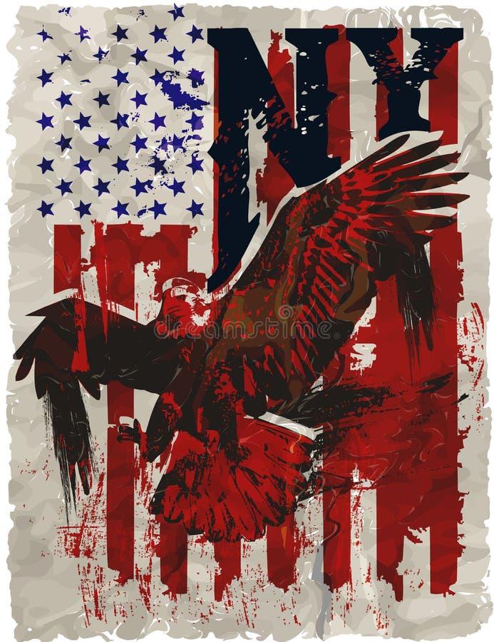 Américain Eagle Linework Vector illustration de vecteur