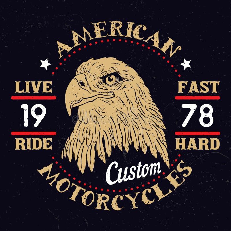 Américain Eagle Motorcycle Emblem illustration de vecteur