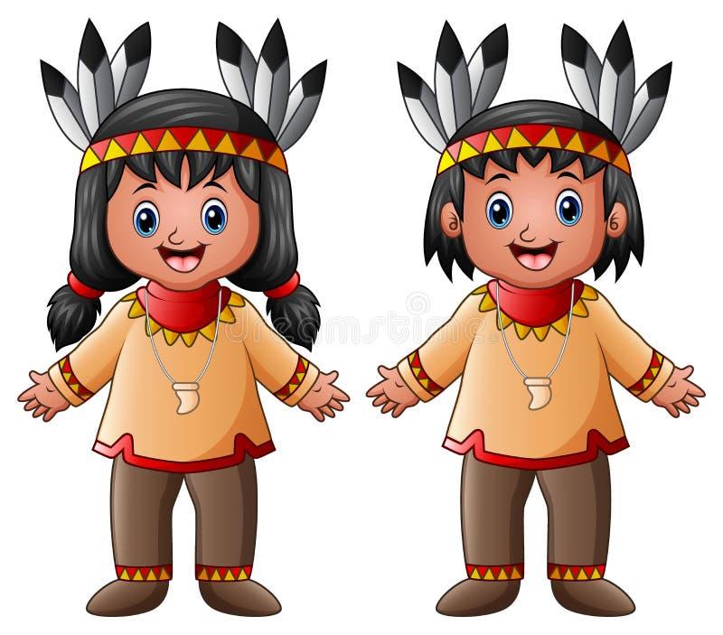 Américain indien indigène d'enfants de bande dessinée illustration stock