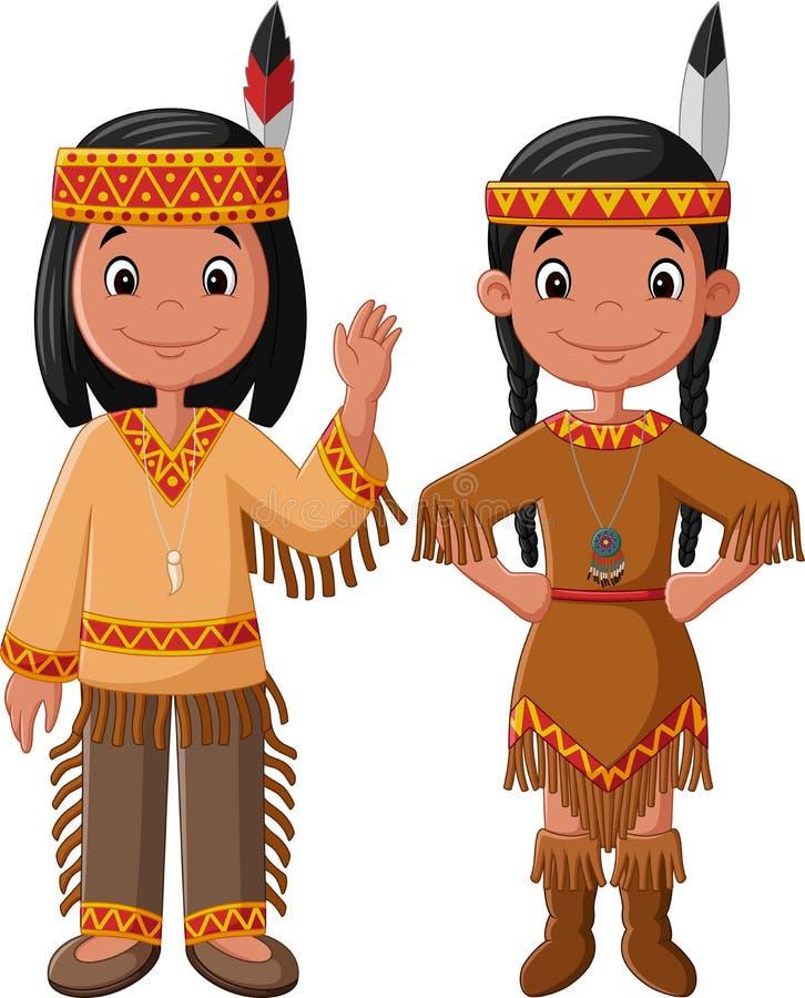 Américain indien indigène de couples de bande dessinée avec le costume traditionnel illustration de vecteur