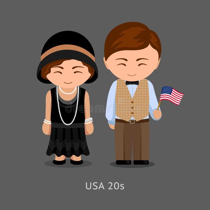 Américains dans la robe nationale avec un drapeau illustration de vecteur