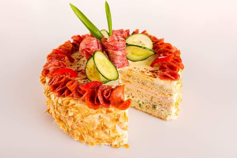 Amêndoa Savory do aperitivo da torta do salame da sobremesa da pastelaria fotos de stock